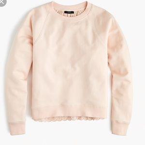 💚 NWT💚 J. CREW pink eyelet back sweatshirt